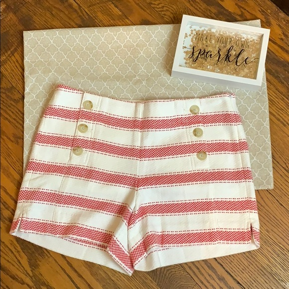 LOFT Pants - Red and white striped high waisted shorts